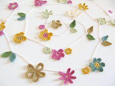crochet flower garden garland