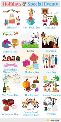 Holidays Vocabulary in English - ESL Buzz
