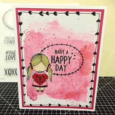 Have a Happy Day Card: Created with Close To My Heart's  Operation Smile stamp set True Love (D1711) & using some watercolour techniques shared with us at a Product Premier and added some doodling to create this cute card. #ctmhTrueLove www.maz.closetomyheart.com.au