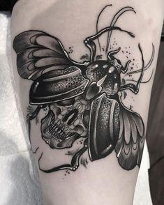 Tattoo Son, Bug Tattoo, Insect Tattoo, Fire Tattoo, Skull Tattoo Design, Skull Tattoos, Body Art Tattoos, Sleeve Tattoos, Cool Tattoos