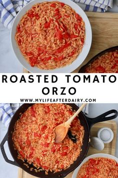 Oven roasted tomatoes pair perfectly with fresh cooked orzo in this delicious dairy-free and vegan pasta dish. This easy to make orzo comes together in about 25 minutes and makes the perfect side dish. #pasta #tomato #sidedish #vegan #dairyfree Dairy Free Recipes, Vegan Recipes, Tasty Dishes, Side Dishes, Orzo Pasta Recipes, How To Cook Orzo, Oven Roasted Tomatoes, Creamy Garlic Sauce, Homemade Hamburgers