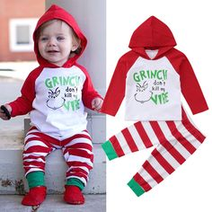 UK Newborn Kid Baby Boy Christmas Xmas Hooded Tops Pants Leggings Outfit Clothes