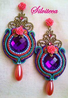 DS_0071 Soutache Pendant, Soutache Earrings, Diy Earrings, Funky Jewelry, Embroidery Jewelry, Shibori, Washer Necklace, Jewelery, Jewelry Watches