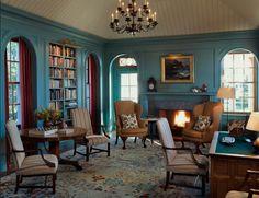 Jayne Design Studio - Library, Shingle Style House in Maine Design Studio, Study Design, Living Room Paint, My Living Room, Interior Exterior, Interior Design, Interior Decorating, Decorating Ideas, Turquoise Room