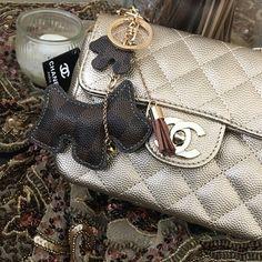 Keychain/bag charm Handmade brown plaid bag charm/key chain from LV fabric Louis Vuitton Accessories