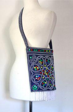 70s Shoulder Bag  / Plastic Bead Bag /  Fringe by DuncanLovesTess