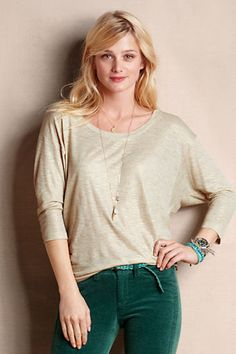 A metallic dolman tee and a velvet pant scream holiday fun for $50.