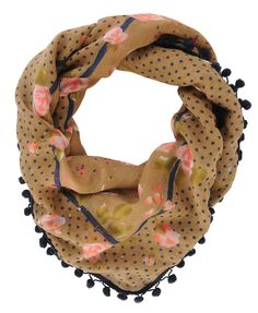 brown, pink and navy pompom trim scarf $9 forever21.com