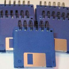 Floppy disk notebook.