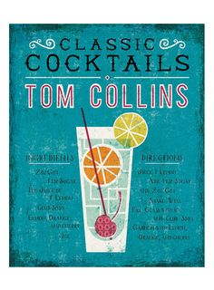 """Tom Collins Art Print Bar Themed Art - An illustrated guide to making a classic Tom Collins cocktail. - Illustration by Michael Mullan - Printed on 13x19"""" archival, acid-free Epson Velvet Fine Art Pap"""