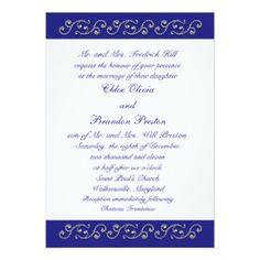 "Pearls and Sapphire Blue Wedding Invitation 5"" X 7"" Invitation Card"