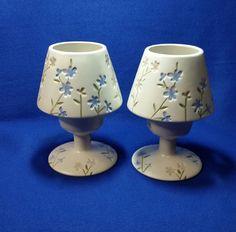 Candle Lamp, Tea Light Candles, Tea Lights, Country Blue, Vintage Candle Holders, Lamp Sets, Vintage Home Decor, Wild Flowers, Vintage Items