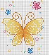 Schematic cross stitch Butterfly Yellow Flowers
