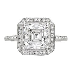 Fred Leighton 3.40 Carat Asscher-Cut Diamond Ring | From a unique collection of vintage engagement rings at https://www.1stdibs.com/jewelry/rings/engagement-rings/