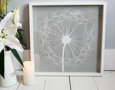Lasercut paper Dandelion, Dandylion, Framed Art, Gift, Art, Minimal Art, Floral