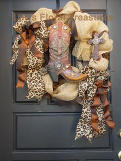 Cowboy Boot Burlap Wreath (image only) *Available @ The Treasure Trunk of Kingwood $65.00