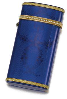 Gold, seed pearl and enamel cigarette case, Fabergé, 1904-1908 Estimate      6,972 - 9,118USD  LOT SOLD. 24,135 USD