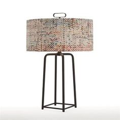 @arteriorshome bronze iron table lamp with recycled newspaper shade