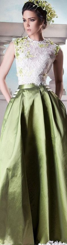 Hanna Touma ~ Couture Olive Green Satin Full Skirt w White Embroidered Lace Top 2015