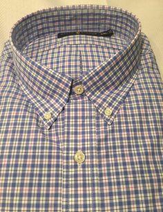 fd824accd8c Ralph Lauren Men s Plaid Shirt Blue Cotton Long Sleeve Blue White Red XXL  2XL  RalphLauren