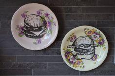 Duo of Hamburgers Upcycled Vintage China by bostoninachinashop