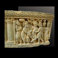 Birth and first bath of the Buddha  Gandhara 2nd c. - 3rd c. schist Length : 55 cm