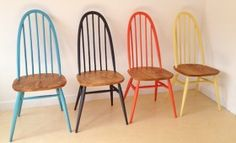 Love these colourful Ercol dining chairs from @trashfurnishing