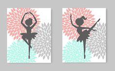 Ballerina Wall Art, Little Girl Room Decor, Nursery Art, Aqua Coral Gray, Dahlia, Baby Girl, Dancer Wall Art, Ballerina Canvas, Baby Shower: