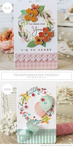 Transformation Tuesday - Happy Birthday Card by Melissa Phillips for Papertrey Ink (June Card Making Inspiration, Making Ideas, Thanksgiving Cards, Get Well Cards, Transformation Tuesday, Cards For Friends, Happy Birthday Cards, Birthday Greetings, Sympathy Cards