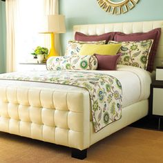 My goal for our bed. Ive got the headboard, euro shams, and matelasse. Now, to make the scarf and matching pillows..