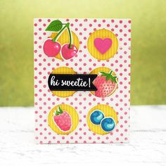 Sunny Studio Stamps Berry Bliss Bright Pop Art Fruit Themed Card Sunnies Studios, Card Companies, Bird Cards, Clear Stamps, Greeting Cards Handmade, Cardmaking, Bliss, Berries, Paper Crafts