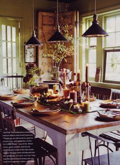 black pendant lights in green rustic kitchen, source unknown