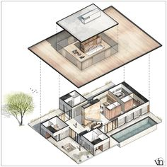 Country House on Rublevo Uspensky highway Russia by Shamsudin Kerimov Architect Isometric Sketch, Isometric Design, Architecture Concept Drawings, Architecture Student, Architecture Art, Presentation Layout, Presentation Boards, Architectural Presentation, 3d Modelle