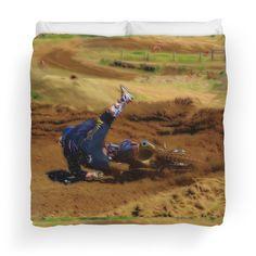 """The Spill"" - A Pro Motocross Rrider Eats Dirt as He Crashes Art Duvet Covers"