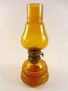 Small Vintage Amber Glass Kerosene Lamp