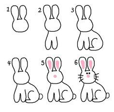how to draw a rabbit step by step for kids - Google Search