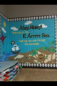 Make this at the IRC with our digital die cut machine! Vbs Themes, Ocean Themes, School Themes, Pirate Day, Pirate Theme, Classroom Design, Classroom Themes, Pirate Bulletin Boards, Teach Like A Pirate