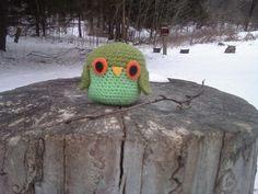 Green Amigurumi Owl Small Crochet Plush Owl by OwlPudding on Etsy, $10.00