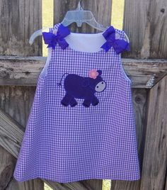 Purple cow applique lavendar gingham dress by MarcootBoutique, $30.00 Purple Cow, Gingham Dress, Applique, Summer Dresses, Sewing, Trending Outfits, Handmade Gifts, Cute, Clothes