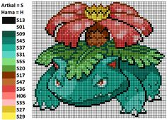 I worked with this pattern to make my Venusaur. On the left you can see the matching Artkal and Hama colors. Venusaur Bisaflor Bead Pattern Perler Artkal Hama Nabbi Pokemon Nintendo Unpixable