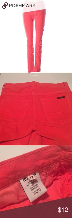 """Hudson Jeans Cords Hudson Jeans Cords in a beautiful bright red/orange color . 23"""" waist and 29""""ondean. Skinny leg cut. Low rise waist 97% cotton and 3% elastane. Tiny stain on the back, washing will get it out, other than that in perfect conditions. J Brand Jeans Skinny"""