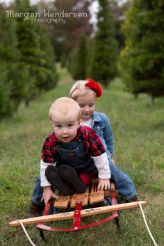 Snow or no snow, pulling your kids in a sleigh is a great photo opportunity.