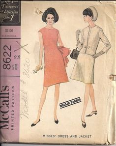 Vintage 60s UNCUT Sewing Pattern New York Designer Collection DRESS SUIT by HoneymoonBus, $9.99