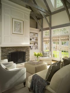 living room; high ceilings; fireplace