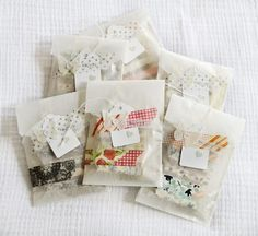 washi-covered clothespins in glassine bags