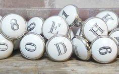 Pushka Knobs Numéro Lettre Poignée de porte Céramique Vintage Armoire Shabby Chi 1