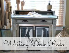Antique Writing Desk Redo with Annie Sloan Chalk paint in Coco and Paris Grey with dark wax…..here's the how-to…. #diy