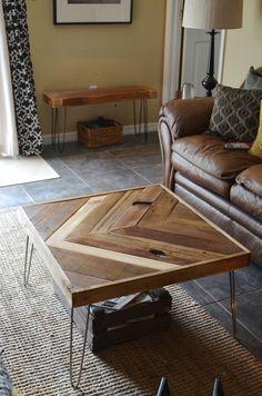 Reclaimed Barn wood Chevron herringbone COFFEE, entry way foyer loft console coffee sofa dining table. Modern hairpin steel legs.. $380.00, via Etsy.