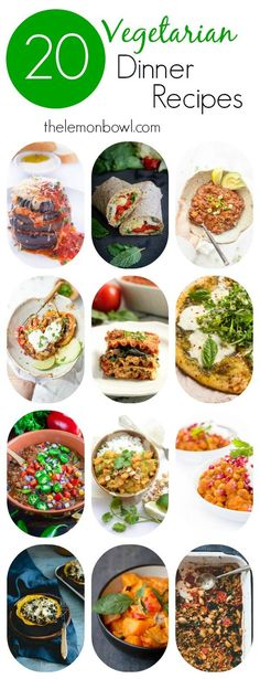 Whether you follow a vegetarian diet or need some meatless options, these 20 recipes are great to add to your meal plan!