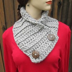 READY TO SHIP Gray Crochet Cowl Scarf Crochet by CeciliaAnnDesigns